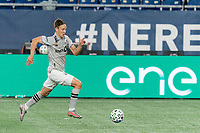 FOXBOROUGH, MA - SEPTEMBER 23: Lassi Lappalainen #21 of Montreal Impact breakaway and scores during a game between Montreal Impact and New England Revolution at Gillette Stadium on September 23, 2020 in Foxborough, Massachusetts.