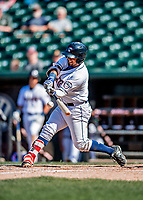 18 July 2018: New Hampshire Fisher Cats outfielder Eduard Pinto in action against the Trenton Thunder at Northeast Delta Dental Stadium in Manchester, NH. The Fisher Cats defeated the Thunder 3-2 in a 7-inning, second game of the day. Mandatory Credit: Ed Wolfstein Photo *** RAW (NEF) Image File Available ***