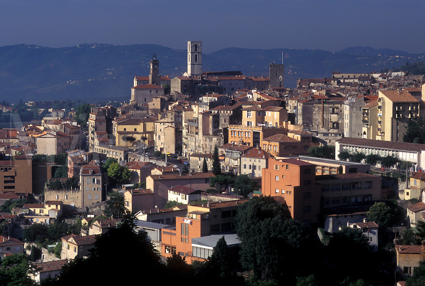 France, Grasse, Cote d' Azur, Provence, Alpes-Maritimes, Europe, Scenic view of the hilltop town of Grasse, the perfume capital of France, in the Provencal countryside.