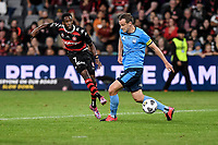 1st May 2021; Bankwest Stadium, Parramatta, New South Wales, Australia; A League Football, Western Sydney Wanderers versus Sydney FC; Bruce Kamau of Western Sydney Wanderers shoots past the advancing Alex Wilkinson of Sydney