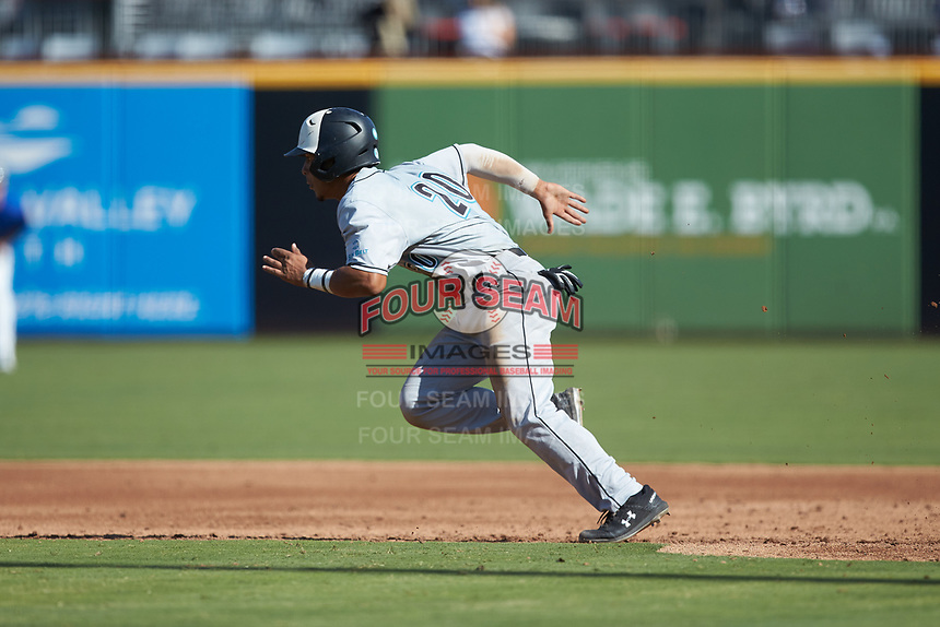 Eric Brown (20) of the Coastal Carolina Chanticleers takes off for second base during the game against the Duke Blue Devils at Segra Stadium on November 2, 2019 in Fayetteville, North Carolina. (Brian Westerholt/Four Seam Images)