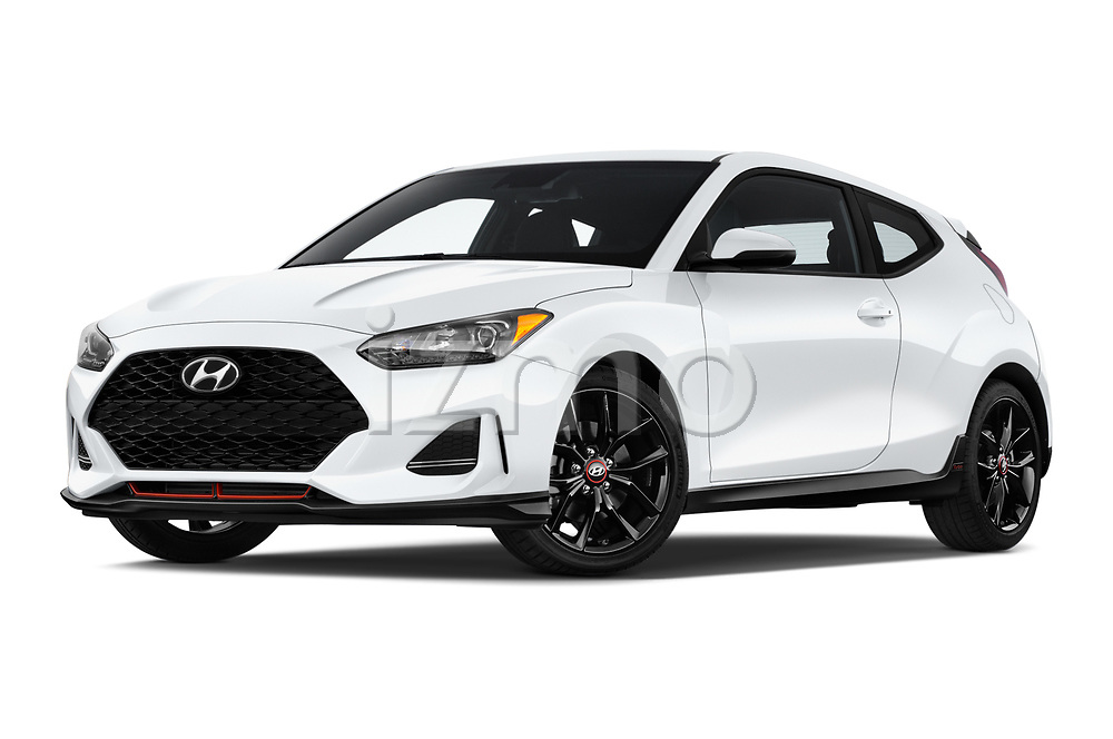 Stock pictures of low aggressive front three quarter view of 2019 Hyundai Veloster R-Spec 2 Door Coupe Low Aggressive