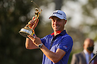 14th March 2021; Ponte Vedra Beach, Florida, USA;  Justin Thomas of the United States poses with the trophy after winning THE PLAYERS Championship on March 14, 2021 at TPC Sawgrass Stadium Course in Ponte Vedra Beach, Fl.