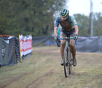 Rebecca Fahringer of the United States rounds a turn Wednesday, Oct. 13, 2021, in the Union Cycliste Internationale Cyclo-cross World Cup at Centennial Park in Fayetteville. The city was one of 16 sites around the globe to hold a world cup event this year for Union Cycliste Internationale, known as International Cycling Union in the United States. Fayetteville will host the UCI World Championships at Centennial Park Jan. 28-30. Visit nwaonline.com/211014Daily/ for today's photo gallery.<br /> (NWA Democrat-Gazette/Andy Shupe)