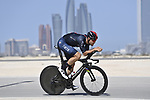 World Champion Filippo Ganna (ITA) Ineos Grenadiers recons the stage before the start of Stage 2 of the 2021 UAE Tour running 13km around  Al Hudayriyat Island, Abu Dhabi, UAE. 22nd February 2021.  <br /> Picture: LaPresse/Fabio Ferrari | Cyclefile<br /> <br /> All photos usage must carry mandatory copyright credit (© Cyclefile | LaPresse/Fabio Ferrari)