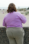 Obese woman on holiday in Wales. UK 2008