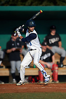 Lasell Lasers shortstop Hector Coscione (3) at bat during the first game of a doubleheader against the Edgewood Eagles on March 14, 2016 at Terry Park in Fort Myers, Florida.  Edgewood defeated Lasell 9-7.  (Mike Janes/Four Seam Images)