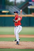 Jacksonville Jumbo Shrimp starting pitcher Cody Poteet (20) delivers a pitch during a game against the Biloxi Shuckers on June 8, 2018 at Baseball Grounds of Jacksonville in Jacksonville, Florida.  Biloxi defeated Jacksonville 5-3.  (Mike Janes/Four Seam Images)