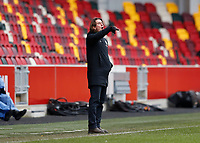 14th February 2021; Brentford Community Stadium, London, England; English Football League Championship Football, Brentford FC versus Barnsley; Brentford Manager Thomas Frank shouting instructions towards his players from the touchline