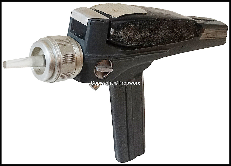 """BNPS.co.uk (01202 558833)<br /> Pic: Propworx/BNPS<br /> <br /> ***Please Use Full Byline***<br /> <br /> The Phaser prop gun.<br /> <br />  A super-rare prop gun from the original series of Star Trek has emerged for sale for a staggering £40,000 almost 50 years after it first appeared on screen.<br /> <br /> The fibreglass prop, known as a phaser, is one of only two known to exist from the ground-breaking show which followed the adventures of William Shatner as maverick captain James T. Kirk and his crew on the starship Enterprise.<br /> <br /> Star Trek is now considered one of the greatest television programmes ever made, and original props demand a high price among its legion of fans around the world.<br /> <br /> The prop has been described as """"an incredible piece of television history"""" and is tipped to fetch $60,000 - around £40,000 - when it is auctioned at Propworx in Los Angeles."""