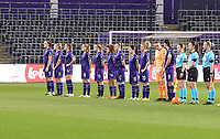 Anderlecht line up at the start of a female soccer game between RSC Anderlecht Dames and Portugese Benfica Ladies  in the second qualifying round for the Uefa Womens Champions League of the 2020 - 2021 season , Wednesday 18 th of November 2020  in ANDERLECHT , Belgium . PHOTO SPORTPIX.BE | SPP | SEVIL OKTEM