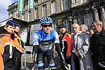 Alex Howes (USA) Garmin-Barracuda at sign on before the start of the 98th edition of Liege-Bastogne-Liege outside the Palais des Princes-Eveques, running 257.5km from Liege to Ans, Belgium. 22nd April 2012.  <br /> (Photo by Eoin Clarke/NEWSFILE).