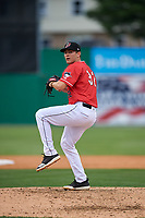 Batavia Muckdogs pitcher Brock Love (32) during a NY-Penn League game against the Lowell Spinners on July 11, 2019 at Dwyer Stadium in Batavia, New York.  Batavia defeated Lowell 5-2.  (Mike Janes/Four Seam Images)