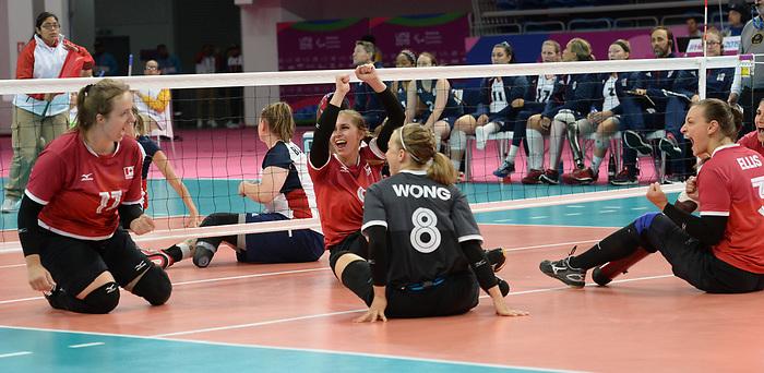 Heidi Peters, Jolan Wong, and Sarah Melenka, Lima 2019 - Sitting Volleyball // Volleyball assis.<br /> Canada competes in women's Sitting Volleyball // Canada participe au volleyball assis féminin. 26/08/2019.
