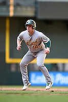 Oakland Athletics first baseman John Nogowski (14) during an Instructional League game against the Arizona Diamondbacks on October 10, 2014 at Chase Field in Phoenix, Arizona.  (Mike Janes/Four Seam Images)