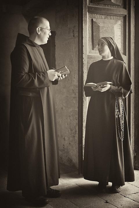 Abbot & Nun At St Eutizio Abbey, Norcia, Italy.