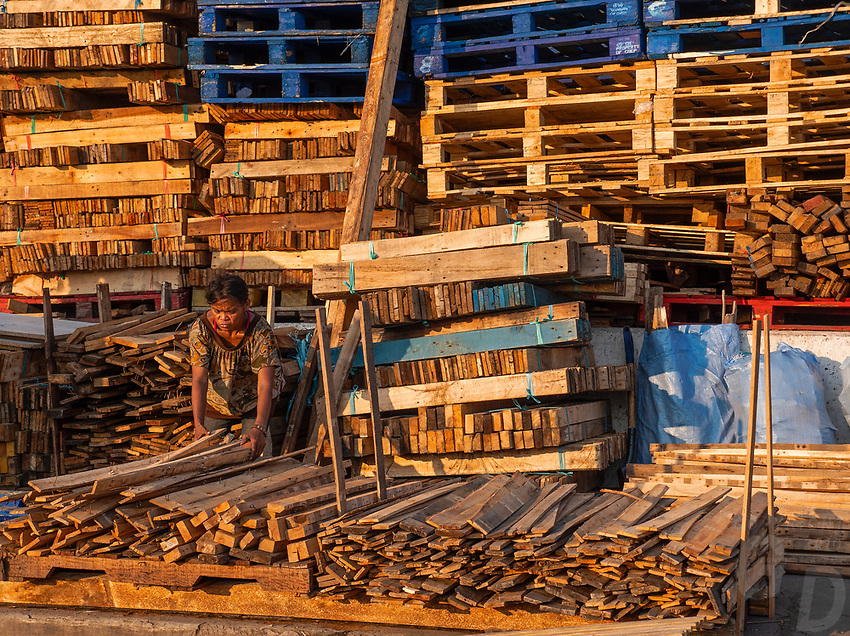 Street Photography, Manila, Philippines North Harbour area in Tondo women recycling wood from pallets