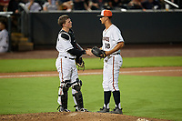 Delmarva Shorebirds catcher Adley Rutschman (37) shakes hands with relief pitcher Ruben Garcia (18) during a South Atlantic League game against the Greensboro Grasshoppers on August 21, 2019 at Arthur W. Perdue Stadium in Salisbury, Maryland.  Delmarva defeated Greensboro 1-0.  (Mike Janes/Four Seam Images)