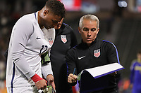 Carson, CA - Sunday January 28, 2018: Zack Steffen, Richie Williams during an international friendly between the men's national teams of the United States (USA) and Bosnia and Herzegovina (BIH) at the StubHub Center.