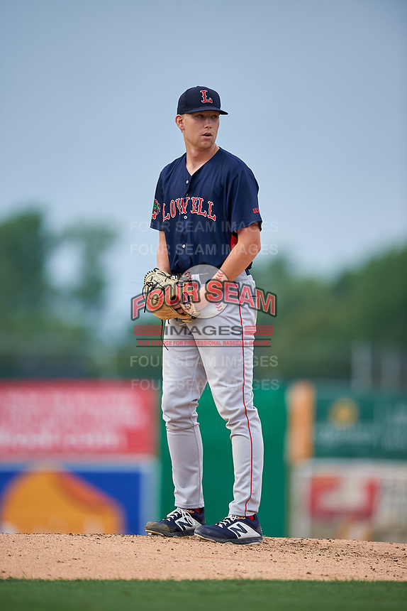 Lowell Spinners starting pitcher Ryan Zeferjahn (41) during a NY-Penn League game against the Batavia Muckdogs on July 11, 2019 at Dwyer Stadium in Batavia, New York.  Batavia defeated Lowell 5-2.  (Mike Janes/Four Seam Images)