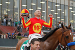 Jockey Mike Smith aboard Hoppertunity after winning the Rebel Stakes (Grade II) at Oaklawn Park in Hot Springs, Arkansas-USA on March 15, 2014. (Credit Image: © Justin Manning/Eclipse/ZUMAPRESS.com)