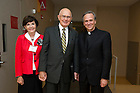 Sept. 4, 2012; Panelist Elder Dallin H. Oaks and wife Kristen McMain backstage with Rev. John I. Jenkins, C.S.C., after the kick-off event for the 2012-13 Notre Dame Forum: Conviction vs. Compromise: Being a Person of Faith in a Liberal Democracy at the DeBartolo Performing Arts Center. Photo by Barbara Johnston/University of Notre Dame