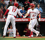 L.A. Angels Shohei Ohtani congratulates Mike Trot on another home run.