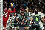 Real Madrid's Thibaut Courtois and Real Sociedad's Willian Jose Da Silva during La Liga match between Real Madrid and Real Sociedad at Santiago Bernabeu Stadium in Madrid, Spain. January 06, 2019. (ALTERPHOTOS/A. Perez Meca)<br />  (ALTERPHOTOS/A. Perez Meca)