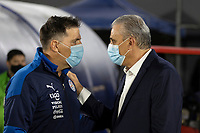 8th June 2021; Defensores del Chaco Stadium, Asuncion, Paraguay; World Cup football 2022 qualifiers; Paraguay versus Brazil;  Paraguay manager Eduardo Berizzo greets Brazil manager Tite