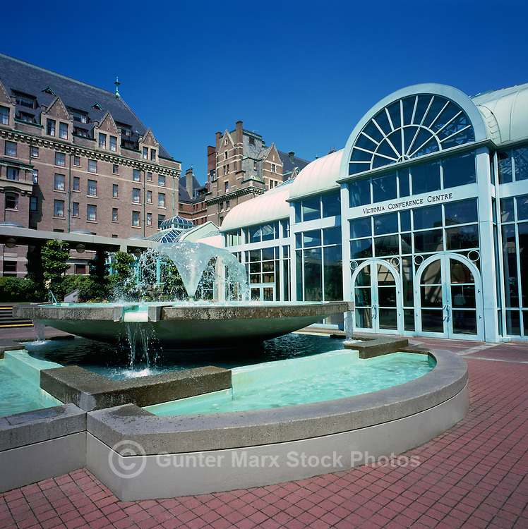 Victoria Conference Centre, Victoria, BC, Vancouver Island, British Columbia, Canada - Fountain on Plaza behind Fairmont Empress Hotel