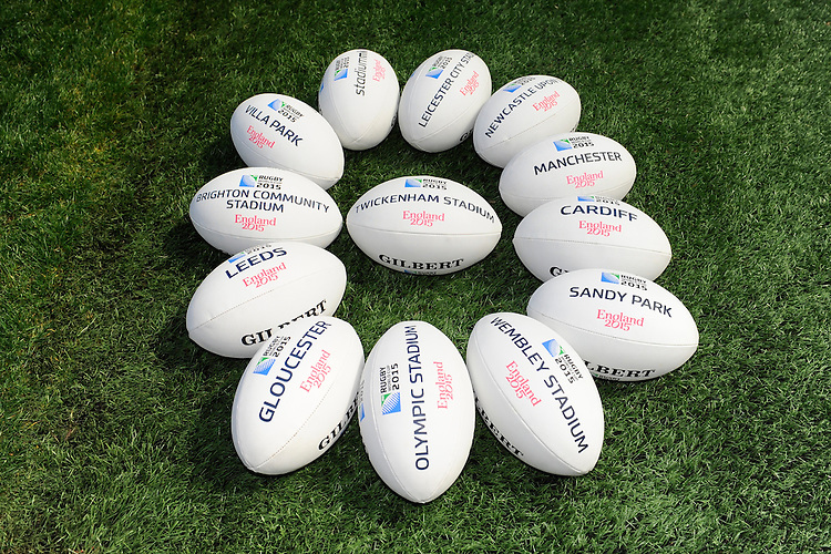 The Gilbert match balls on display during the Rugby World Cup 2015 Venues and Match Schedule Launch at Twickenham Stadium on Thursday 2nd May 2013 (Photo by Rob Munro)