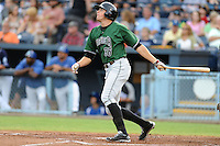 Augusta GreenJackets left fielder Andrew Cain #36 homers in the third inning during a game against the Asheville Tourists at McCormick Field on June 27, 2013 in Asheville, North Carolina. The Tourists won the game 10-6. (Tony Farlow/Four Seam Images)