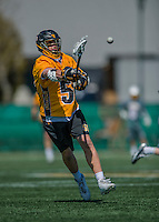 16 April 2016: University of Maryland, Baltimore County Retriever Defender Zach Esser, a Senior from Forest Hill, MD, in action against the University of Vermont Catamounts at Virtue Field in Burlington, Vermont. The Retrievers fell to the Catamounts 14-10 in NCAA Division I play. Mandatory Credit: Ed Wolfstein Photo *** RAW (NEF) Image File Available ***