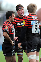 20130303 Copyright onEdition 2013©.Free for editorial use image, please credit: onEdition..(L-R) Neil de Kock, Ernst Joubert and Jackson Wray of Saracens during the Premiership Rugby match between Saracens and London Welsh at Allianz Park on Sunday 3rd March 2013 (Photo by Rob Munro)..For press contacts contact: Sam Feasey at brandRapport on M: +44 (0)7717 757114 E: SFeasey@brand-rapport.com..If you require a higher resolution image or you have any other onEdition photographic enquiries, please contact onEdition on 0845 900 2 900 or email info@onEdition.com.This image is copyright onEdition 2013©..This image has been supplied by onEdition and must be credited onEdition. The author is asserting his full Moral rights in relation to the publication of this image. Rights for onward transmission of any image or file is not granted or implied. Changing or deleting Copyright information is illegal as specified in the Copyright, Design and Patents Act 1988. If you are in any way unsure of your right to publish this image please contact onEdition on 0845 900 2 900 or email info@onEdition.com