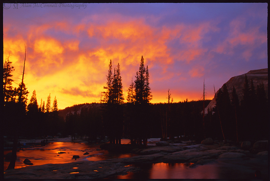 """""""Tuolumne Sunset""""<br /> Yosemite National Park, California<br /> 2004<br />  Yosemite National Park offers an array of beauty.  But entering from the east, the Tioga Road leads the traveler through the highlands and away from the crowds of the busy valley.  Narrow trails along the Lyell Fork of the Tuolumne River lure the eyes toward the western skies at dusk.  A confluence of streams forms a swirling eddy around pool-pocked granite rocks and Lembert Dome.  A lyrical harmony of three cascades enriches the senses as the setting sun illuminates the sky with a fiery brilliance.  Conifers form inky silhouettes against the violet-hued heavens. Tranquility settles in the meadow and lulls the travelers with its secrets."""
