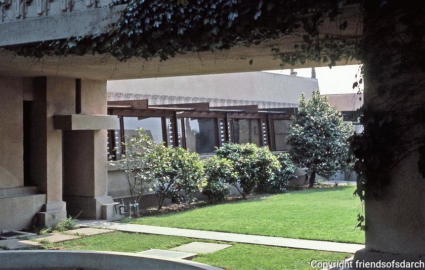 Frank Lloyd Wright, Architect. Hollyhock House, Hollywood, 1917.   Photo May 1982.