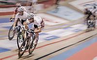 Madison World Champions Morgan Kneisky (FRA) & Benjamin Thomas (FRA) speeding at the 'Kuipke' velodrome<br /> <br /> Ghent 6day<br /> Belgium 2017