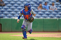 St. Lucie Mets catcher Matt O'Neill (5) backs up a play during a game against the Clearwater Threshers on July 1, 2021 at BayCare Ballpark in Clearwater, Florida.  (Mike Janes/Four Seam Images)