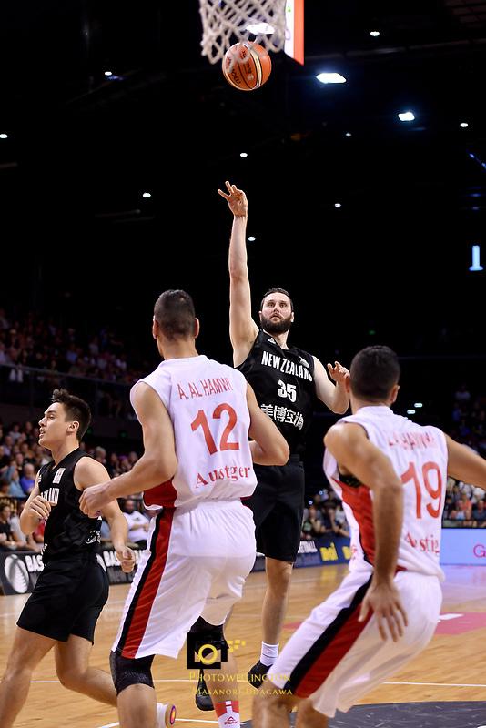 New Zealand Tall Blacks' Alex Pledger in action during the FIBA World Cup Basketball Qualifier - NZ Tall Blacks v Syria at TSB Bank Arena, Wellington, New Zealand on Sunday 2 2018. <br /> Photo by Masanori Udagawa. <br /> www.photowellington.photoshelter.com