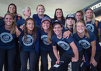 Washington, DC - July 27, 2016: The USWNT arrives at Dulles International Airport before their departure for the Olympic Games in Brazil.