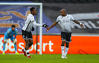 2nd January 2021; Liberty Stadium, Swansea, Glamorgan, Wales; English Football League Championship Football, Swansea City versus Watford; Jamal Lowe celebrates with Andre Ayew of Swansea City after scoring his sides first goal in the 43rd minute to make the score 1-1
