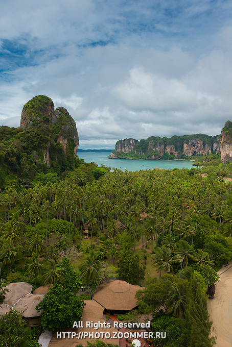 Krabi aerial view from the height of a viewpoint on a limestone cliff, Thailand