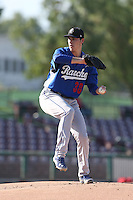 Tom Windle #38 of the Rancho Cucamonga Quakes pitches against the Inland Empire 66ers at San Manuel Stadium on August 10, 2014 in San Bernardino, California. Inland Empire defeated Rancho Cucamonga, 4-1. (Larry Goren/Four Seam Images)
