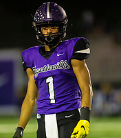 Phillip Sategna (1) of Fayetteville coming off field against North Little Rock at Harmon Field , AR, on Friday,September 10, 2021 / Special to NWADG David Beach