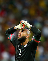 USA goalkeeper Tim Howard shows a look of dejection after a missed chance