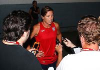 WASHINGTON D.C. - September 02, 2013:<br /> Abby Wambach talks to the press During a USA WNT open practice at RFK Stadium, in Washington D.C. the day before the USA v Mexico international friendly match.