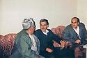 Iraq 1983 .Right, Rassoul Mahmand, sheikh Mohammed Chakerli and ? in the office of the Kurdistan Socialist Democratic Party in Sardacht .Iran 1983 .A Sardacht , dans le bureau du parti socialiste democratique du Kurdistan, a droite , Rassoul Mahmand et a cote, Sheikh Mohammed Chakerli