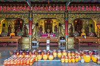 Three of the Five Wisdom Buddhas, Kek Lok Si Buddhist Temple, George Town, Penang, Malaysia. Amitabha Buddha on left, Vairocana (Vairochana) Buddha in center, Aksobhya (Akshobhya) Buddha on right.