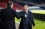St Johnstone v Hibs…23.01.21   Hampden     BetFred Cup Semi-Final<br />Saints manager Callum Davidson greets Jack Ross<br />Picture by Graeme Hart.<br />Copyright Perthshire Picture Agency<br />Tel: 01738 623350  Mobile: 07990 594431
