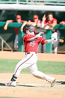 Dusty Robinson #27 of the Fresno State Bulldogs plays against the Louisiana Tech Bulldogs in the Western Athletic Conference post-season tournament at Hohokam Stadium on May 26, 2011 in Mesa, Arizona. .Photo by:  Bill Mitchell/Four Seam Images.